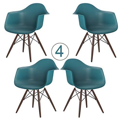 Brigros - Set di 4 Poltrone da Pranzo con Seduta in Polipropilene e Gambe in Legno Massello di Faggio, Design Ergonomico e Moderno, sedie Design, poltrone Design (Turchese)