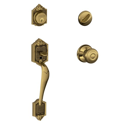 Parthenon Single Cylinder Handleset and Georgian Knob, Antique Brass (F60 V PAR 609 GEO)
