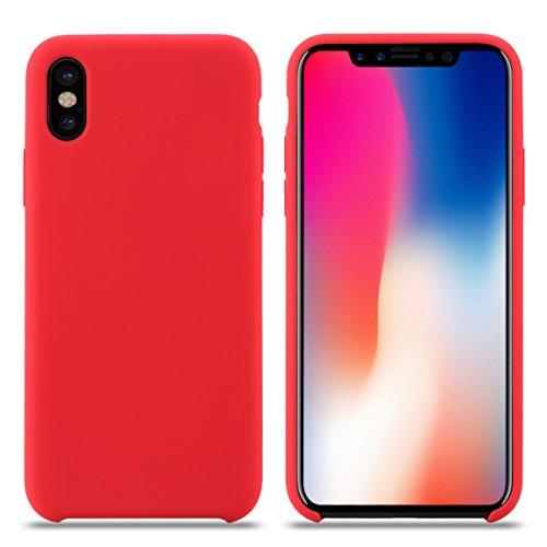 Cover iPhone XS, Custodia Antiurto Gomma Gel Silicone Liquido con Fodera Tessile Microfibra Morbida Custodia Silicone iPhone XS Cover per Apple iPhone XS. (XS 5.8'', Rosso)