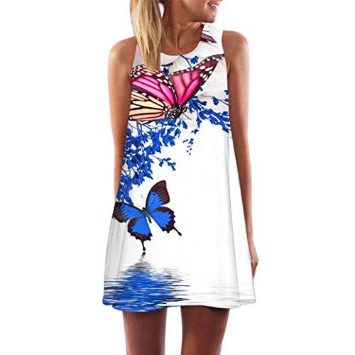 MRULIC Kleid Damen Sommerkleid Freizeitkleid Shirtkleid T-Shirt Bluse Tunika Ärmellos Locker...
