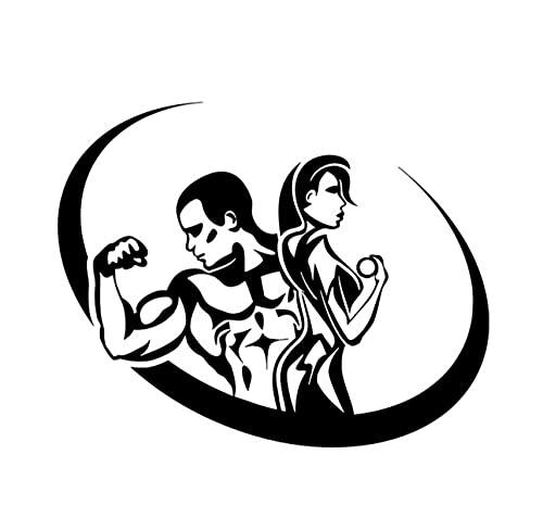 MDGCYDR Pegatinas Coche 17,1 Cm * 13,6 Cm Deporte Fitness Culturismo Hombre Y Mujer Gimnasio Vinilo Creativo Pegatinas De Estilo De Coche Calcomanías Negro/Plata