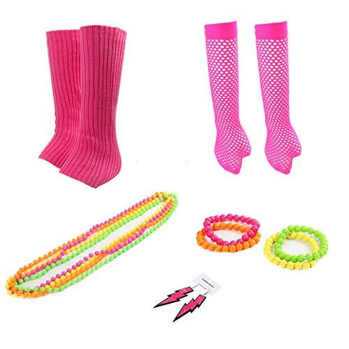 Funhoo 80er Damen Kostüm Accessoire Neon Armbänder Halsketten Ohrringe Fischernetz Handschuhe Beinwärmer Stulpen Outfit Zubehör für Party Cosplay, 14-teilig