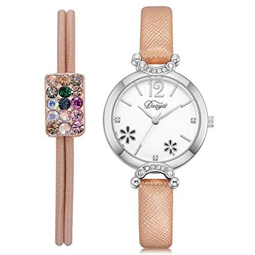 Duoya - Reloj de Pulsera de Piel sintética con diseño de Flor y Correa de Cuarzo analógica
