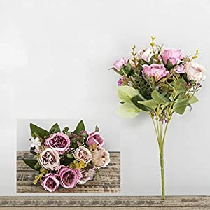 MARSPOWER Artificial Flowers Carnation Bouquet Fake Flowers Wedding Decoration Home Office Blossoms Decor