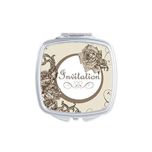 DIYthinker Antique Rose Fleur Plante Motif carré Miroir de Maquillage Compact Portable Mignon Miroirs de Poche à la Main Cadeau Multicolore