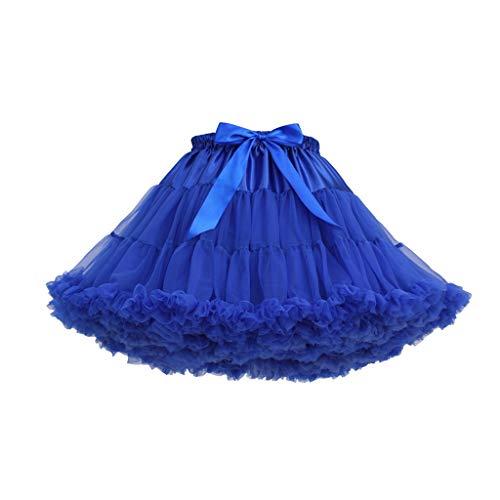 Andouy Damen Tutu Rock Tüll Mini Bogen Plissee Dance Organza Kostüm Prinzessin Dress-up Pettiskirt Größe 34-46(34-46,Kobaltblau)