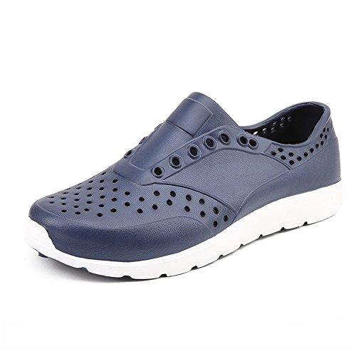Ys-s Moda Zueces para Hombre Sandalias Little Vacuoves Vamp Diplicado en Zapatos de Playa Cómodo y Ligero (Color : Dark Blue, Size : 45 EU)
