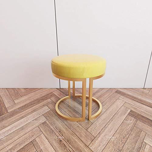 Vestir taburete de casa apartamento entrada mini de tela bajo sofá taburete cambio de zapatos taburete niños silla pequeña decoración del hogar, amarillo