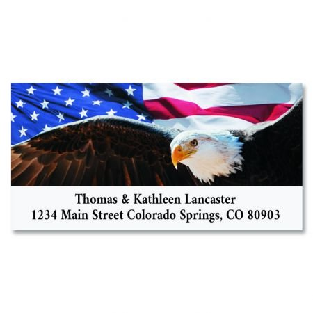 Patriotic Eagle Personalized Return Address Labels- Set of 144, Large Self-Adhesive, Flat-Sheet Labels By Colorful Images