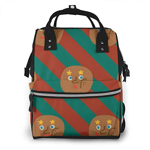 Multi-Functional Diaper Bag Backpack, Anti-Water Infant Nursing Rucksack Baby Bag with Insulated Pockets, Brown Emoticon Package Orange Green Stripes Painting Best Bookbag