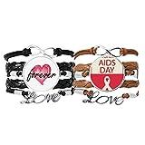 Bestchong Red Ribbon 1st Diciembre Mundial Símbolo Pulsera Correa de mano Cuerda de cuero Forever Love Wristband Set doble