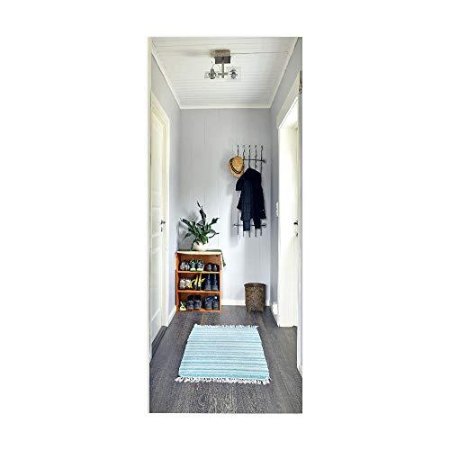 DIY 3D Puerta Pegatinas 77 * 200cm Autoadhesivo Removibles Pegatinas Puerta PVC Impermeable y antiincrustante Para la decoración de puertas interiores Zapatero
