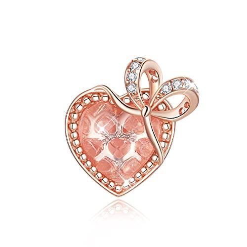 Abalorio de corazón compatible con pulseras Pandora, plata de ley, regalo de amor con arco de cristal, para pulsera