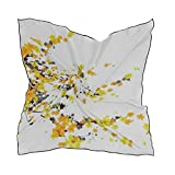 Women's Soft Polyester Silk Scarf,23.62'x23.62'large Square Printed Yellow Apricot Flower Which Called Hoa Silk Feel Scarf