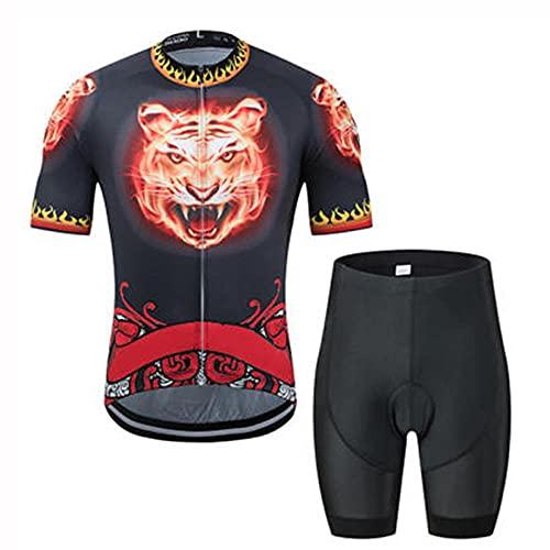 HXTSWGS Traje Ciclismo Hombre Maillot Ciclismo,Ride Camisa de Manga Corta + Pantalones Cortos con Tirantes, perseverancia de absorción de Humedad-B_XS