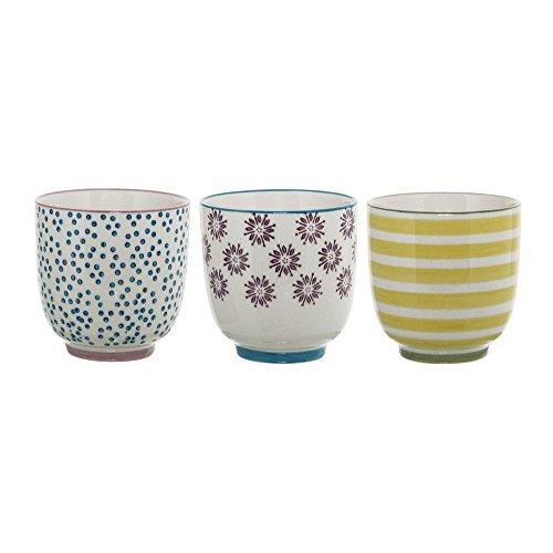 Bloomingville kleine Becher Patrizia, gelb blau lila, Keramik, 3er Set