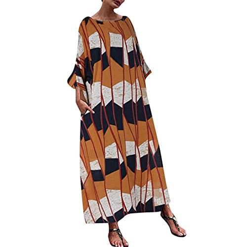 OPAKY Vestido largo de verano bohemio para la playa, holgado, maxivestido, manga corta, cuello redondo, informal, estampado de flores, vestido de playa amarillo XXL