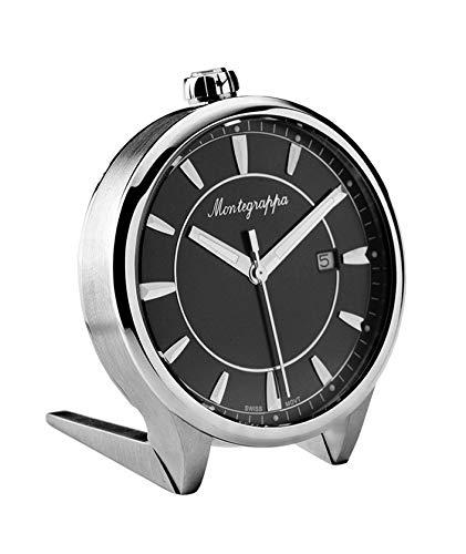 Montegrappa Fortuna quadrante nero in acciaio inox orologio da scrivania al...