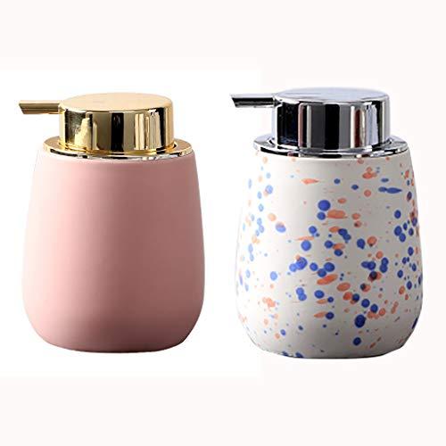 13 oz Distributeur Mignon de Savon en céramique Bouteille Rechargeable Matte Distributeur de Savon Liquide Pompe for Salle de Bains Meuble-lavabo (Color : Pink+White)