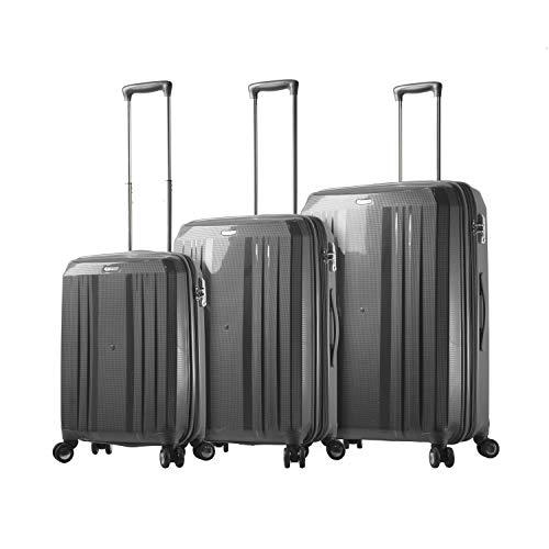 Mia Toro Italy Duraturo Hardside Spinner Luggage 3pc Set, Charcol, Black