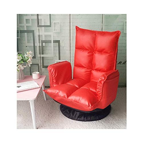 YLCJ Folding Upholstery with Adjustable High Back 360 Degree Swivel and Removable Bottom Cover for Games Reading-Red