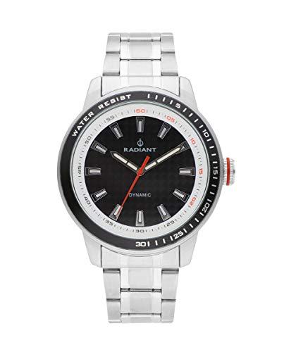 Reloj analógico para Hombre de Radiant. Colección Dax. Reloj con Brazalete Plateado y con Esfera Negra. 5ATM. 47mm. Referencia RA494202.