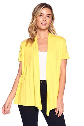 12 Ami Basic Solid Short Sleeve Open Front Cardigan Yellow Extra Large