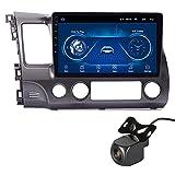 para Honda Civic 2004-2011 Autoradio Bluetooth, Android Radio De Coche 9'' Pantalla Táctil WiFi Plug and Play Soporte GPS, con Camara Trasera, Cuatro Nucleos,4+64G