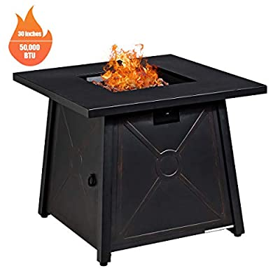 Giantex Gas Fire Table, 30 inch Square Table 50,000BTU Fire Pit w/Waterproof Cover, ETL and CSA Certification Patio Propane Heater Fire Pit Table w/Electronic Ignition Lava Rock (Black)