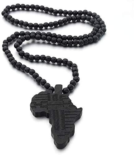 ZVBEP Collar con Colgante de Mapa de África para Mujeres y Hombres, Colgante de Madera de Color, joyería etíope, mapas africanos, Hiphop