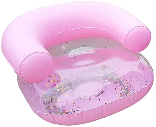 RILLATEK Cheerfulus-123 Niños Inflable Showing Up Silla, Lentejuelas Transparentes Piscina Inflable Asiento de Flotador Piscina de Verano Raft Lounge Playa Party Party Water Juguete para niños