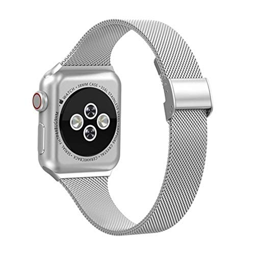 CGGA Correa For IWATCH Band 40mm 38mm 42mm 44mm IWATCH Serie Band 5/4/3/2/1 Acero Inoxidable Accesorios Pulsera (Band Color : 3, Band Width : 38mm)
