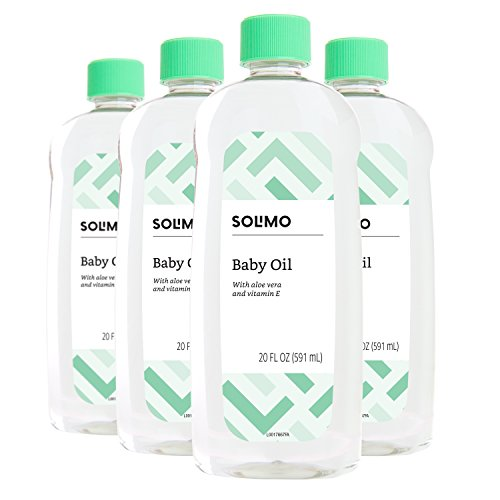 Amazon Brand - Solimo Baby Oil with Aloe Vera & Vitamin E, 20 Fluid Ounces (Pack of 4)