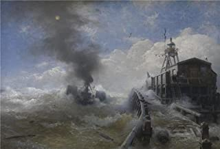 Perfect Effect Canvas ,the Reproductions Art Decorative Canvas Prints Of Oil Painting 'Towboat Leaving The Port Of Ostend At Heyday Before 1882 By Andreas Achenbach', 10x15 Inch / 25x37 Cm Is Best For Game Room Gallery Art And Home Gallery Art And Gifts