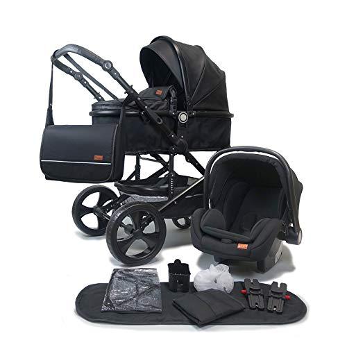 Pixini Kalani Kinderwagen 3 in 1 Komplettset inkl. Babywanne & Buggy & Auto-Babyschale + Wickeltasche/Regenplane/Getränkehalter/Mückennetz in Kunstleder schwarz