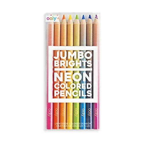 Ooly Jumbo Brights Neon Colored Pencils - Chunky Set of 8 - 7' Long - Ages 4+