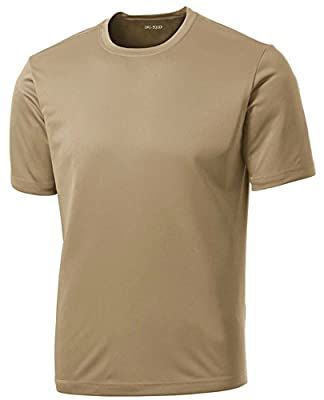 DRIEQUIP Men's Short Sleeve Moisture Wicking Athletic T-Shirt-Sand-L