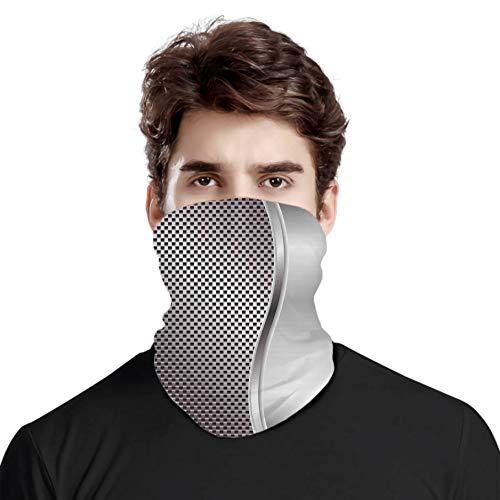 FULIYA Gran cara cubierta bufanda protección cuello, fondo fresco con rejilla en forma cuadrada altavoz destacado diseño industrial hierro impreso, variedad cabeza bufanda unisex