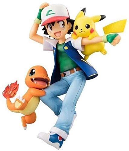 YIGEYI Pokémon: Ash Ketchum con Pikachu e Charmander Anime Action Figure 5 Figure in PVC da 9 pollici Modello da collezione Personaggio Statua Giocattoli