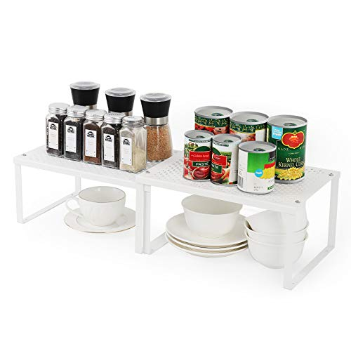 MOOACE Kitchen Cabinet and Counter Shelf Organizer, Expandable & Stackable, White