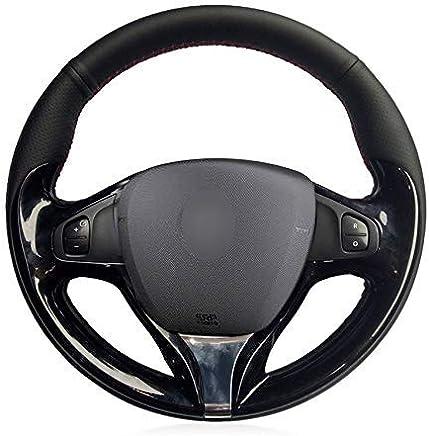 SCJ Cubierta de volante de cuero de microfibra negra para Renault Clio 2013-2015 Captur