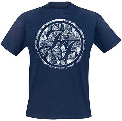 Foo Fighters Sonic Highways - City Circles Hombre Camiseta Azul Oscuro M, 100% algodón, Regular
