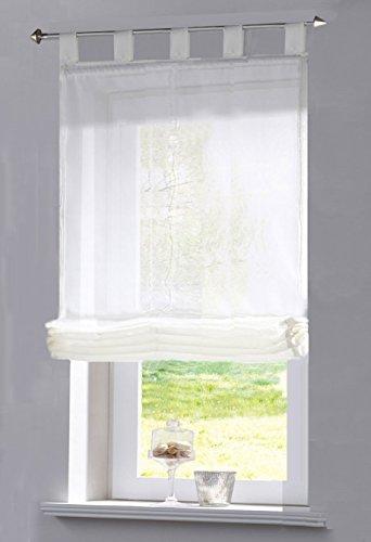 Gardinenbox Transparentes Raffrollo Uni aus Voile mit Schlaufen, 170X80 (HXB), Weiß, 610070