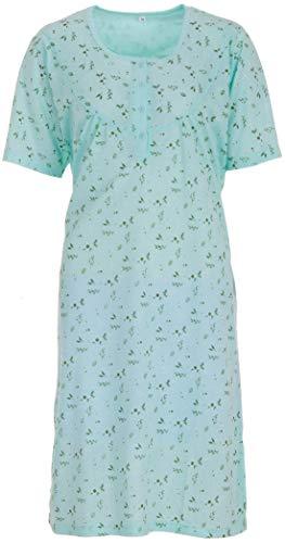 Romesa Nachthemd - hochwertige Stickerei und feminer Druck für EIN romantischen Look, Größe:L;Farbe:Türkis