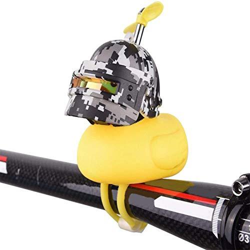 自動装飾ラバーアヒルヘルメット、LEDライト、プロペラハンドルバー自転車の角、車の装飾品ダッシュボードの装飾、大人の子供たちのための黄色いアヒル自転車の鐘 (Color : A)