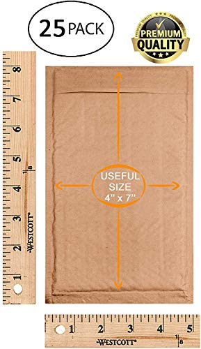 25 Pack Kraft padded envelopes 4x7. Bubble Mailers 4 x 7 Natural Kraft bubble envelopes. Peel and Seal. Brown cushion envelopes for mailing, packing and packaging. Shipping mailers in bulk, wholesale. Photo #5