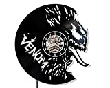 Levescale - Venom Vinyl Wall Clock - Exclusive Marvel Design - Perfect Comics Gift for Friends, Him Or Her - Decoration for Living Room, Bedroom, Kitchen - Movie Super Man