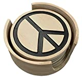 Top Brass Peace Sign Coaster Set - Hippie Bohemian Decor