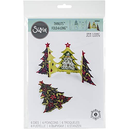 Sizzix Thinlits Lot de 6 matrices de découpe pour sapin de Noël pliées par Jen long, métal, multicolore, 26,1 x 17 x 0,5 cm