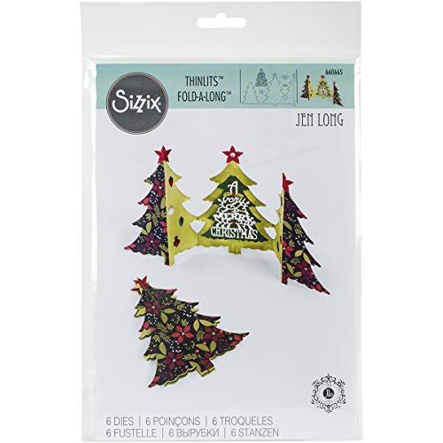 Sizzix 'Card Christmas Tree Fold by Jen Long' Thinlits Die Set, Multi-Colour, Pack of 6